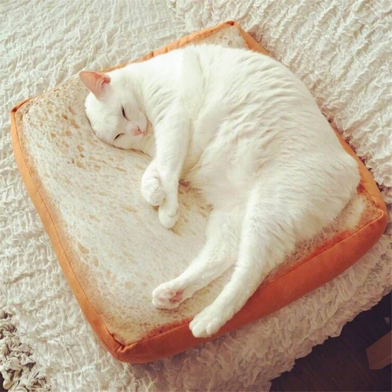 40*40CM Cute Soft White Bread Cushion Kids Birthday Gift Home Bakery Shop Decoration Creative Toasted Bread Pillow Plush Toy