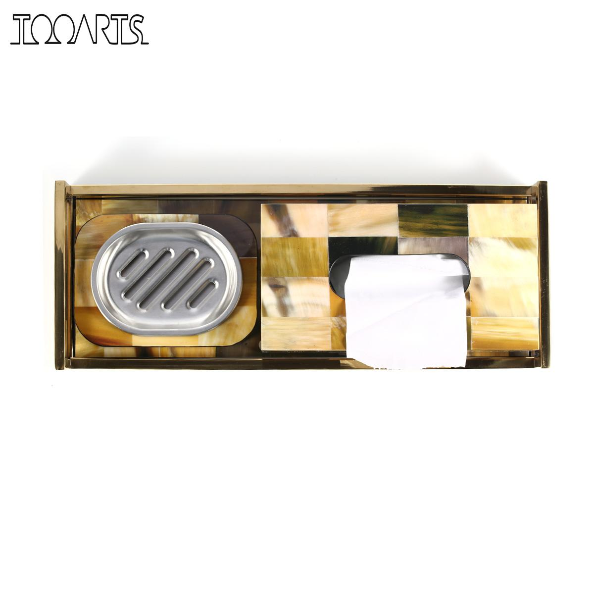 Tooarts Rectangular Tray with Horn Stripes(Small Size) Wooden Piano Baking Varnish Technology Tea Tray Fruit Tray Coffee Tray