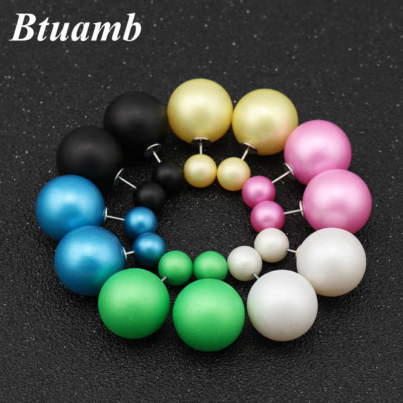 Btuamb Hot Selling Double Sides Big Ball Stud Earrings New Maxi 12 Color Simulated Pearl Earrings for Women Party Accessories