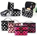 Portable Double-Deck Zipped Enclosure Water resistant Nylon Cosmetic Retro Dot Multi Functional Beauty Makeup Hand Case Bag GUB#