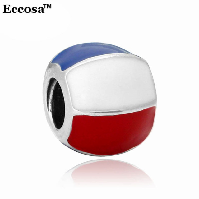 New Arrival Fashion Charm Inexpensive Enamel Netherland Flag Large Hole Beads For Diy Pandora Charms Bracelets