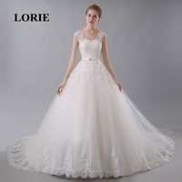 LORIE Princess Wedding Dress Scoop China Appliques Court Train Bow Lace Free Shipping Lace Up Sweep Train Vintage Bridal Gown