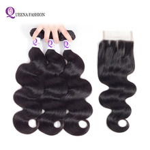 Cambodian Body Wave Bundles With Lace Closure Natural Black Color Non Remy Hair Extensions 3 Pcs Human Hair Bundles with Closure(China)