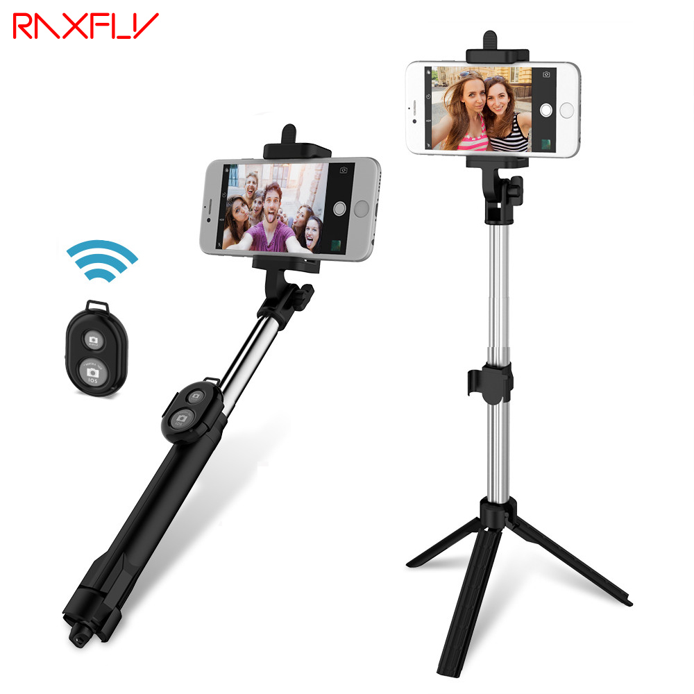 RAXFLY Remote Selfie Stick Tripod+ Foldable Mini Selfie Stick+Bluetooth Shutter Remote Controller For iPhone xiaomi mi selfie sc1 carbon fiber smartphone tripod handheld mini phone action camera gopro selfie stick wireless bluetooth remote shutter