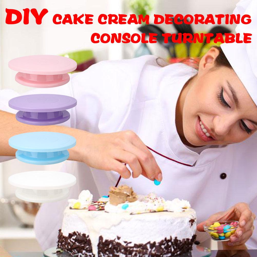Teder Diy Cake Revolving Stand Platform Plastic Decoreren Gebruiksvoorwerp Kwartelplaat Draaitafel Voor Accessoires & Deel Drop Verzending Kits