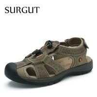 SURGUT Brand Hot Sale Men Summer Sandals Men Leather Casual Shoes Man Fashion Roman Style Breathable New Large Size 38 45