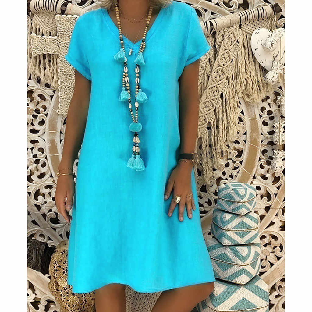 2019 Spring Fashion Sexy Women Summer Style V-Neck Vestido T-shirt Cotton Casual Plus Size Ladies Dresses For Female40