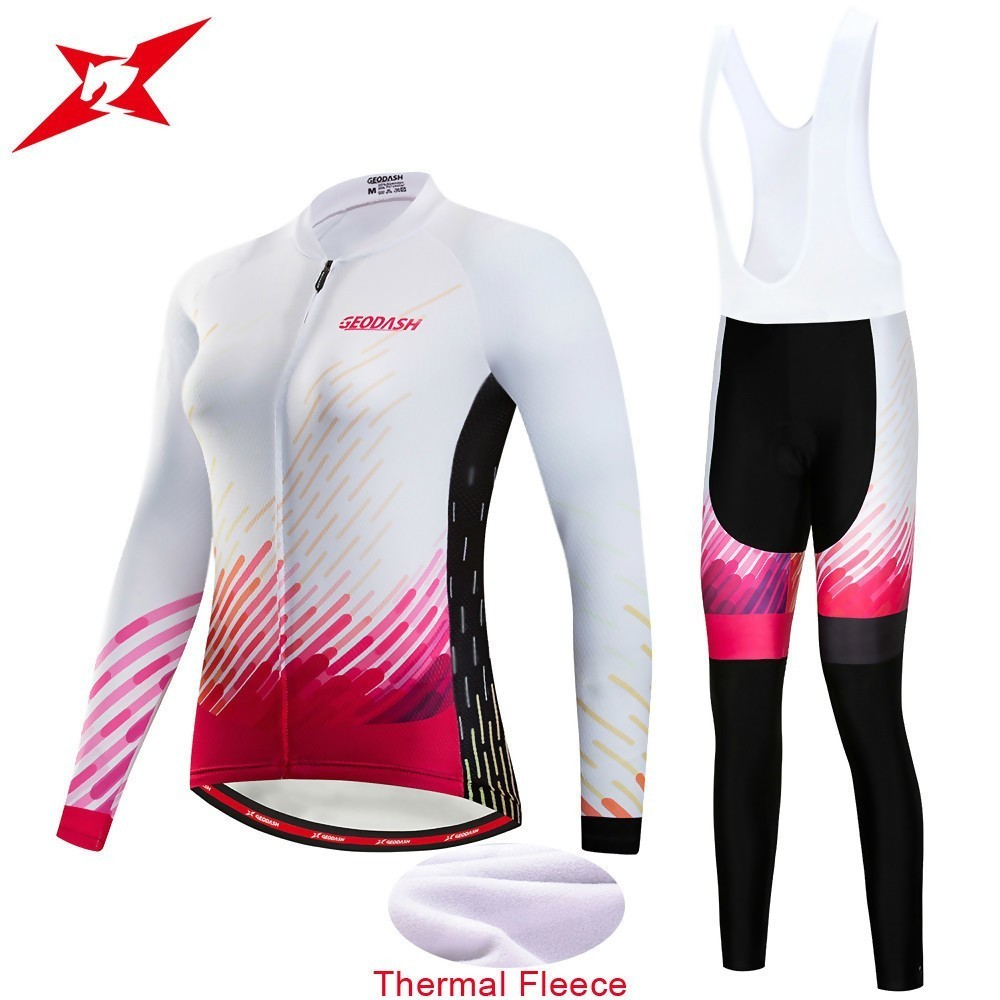 GEODASH Quality Thermal Fleece Cycling Clothing Woman Bicycle Clothing Cycling Winter Women s Set GEL Pad