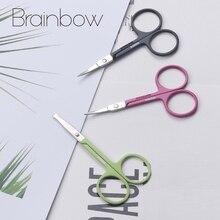 Brainbow 1 шт. нержавеющая сталь ножницы для макияжа бровей ресницы нос Обрезка волос ножницы острые Изогнутые Круглые маленькие ножницы для бровей