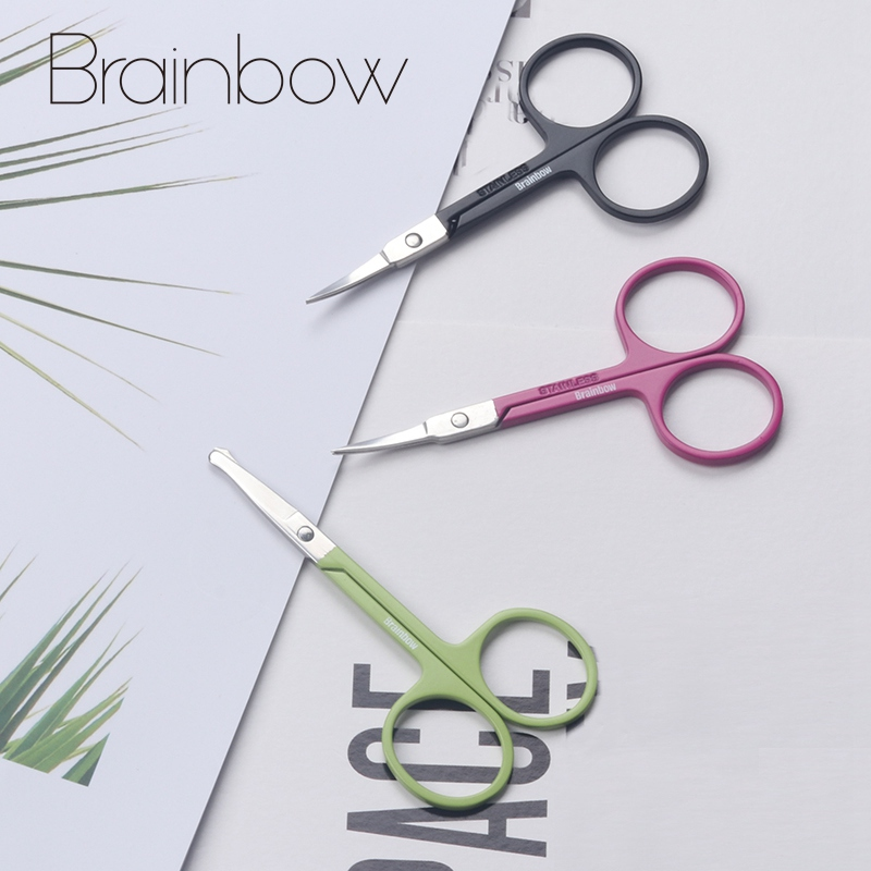 Brainbow 1pc Stainless Steel Makeup Scissor Eyebrow Eyelashes Nose Hair Trim Scissor Sharp Curved Round Small Eyebrow Scissor