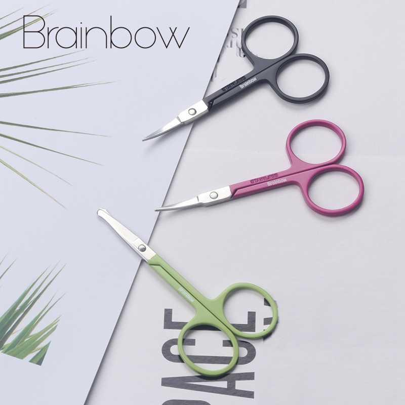 Brainbow 1pc ステンレス鋼メイクシザー眉毛まつげ鼻毛トリムはさみシャープ湾曲したラウンド小眉はさみ