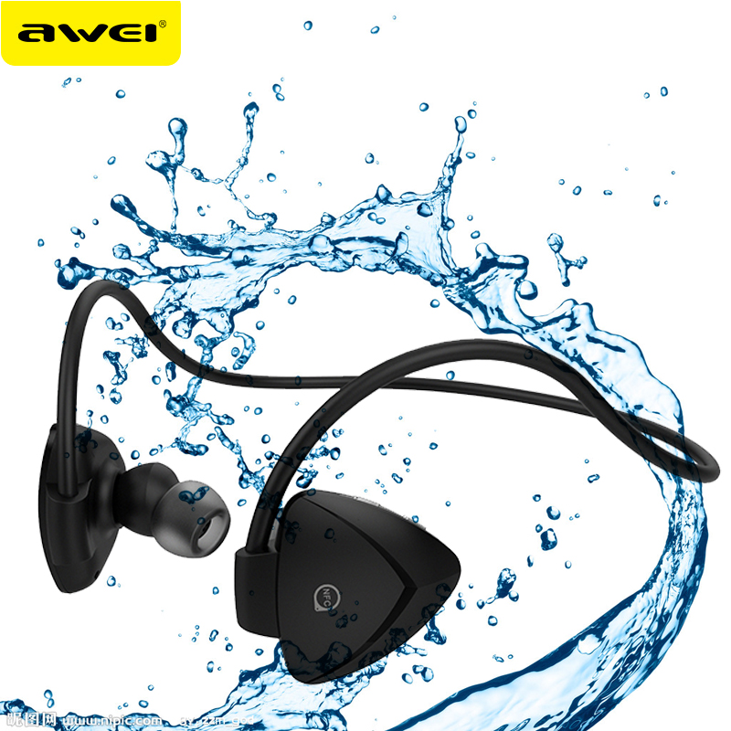AWEI A840BL Waterproof Bluetooth Earphones Wireless Earbuds With Mic Stereo Headset Fone de ouvido Auriculares Ecouteur awei q5i metal headphones stereo earphones super bass headset fone de ouvido kulaklik auriculares audifonos ecouteur with mic