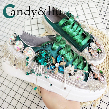 Women Flower Canvas Shoes Flat Bottomed Student Shoes Embroidery Colorful Girls Lace Up Sneakers Sweet Pearl Flores Ladies