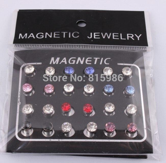 bc5d6c2ea5af Envío gratuito 24 unids 5mm mezcla de color imán círculo de cristal  pendientes magnéticos pendientes de oreja falsa pendiente de moda