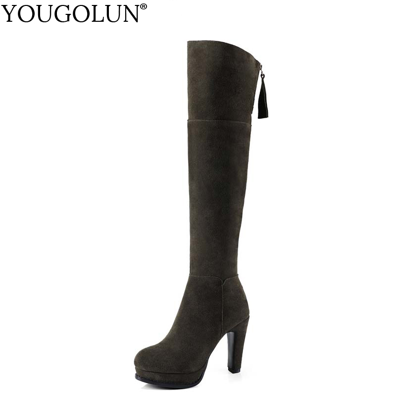 YOUGOLUN Women Thigh High Boots Winter Genuine Cow Suede Nubuck Leather Thick Heel 10 cm Heels Black Green Platform Shoes #Y-185 sitemap 66 xml