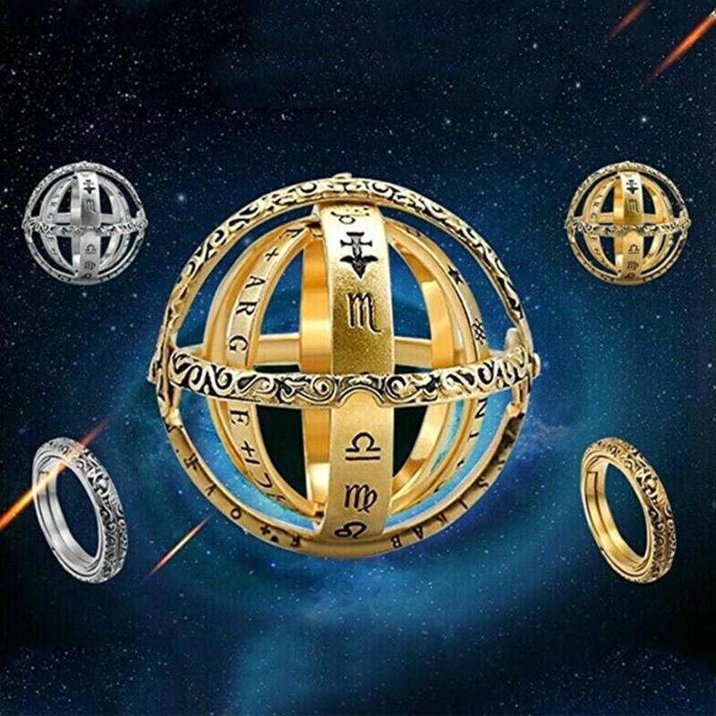 16th Century Astronomische Kugel Ball Ring Cosmic Finger Ringe Paar Liebhaber Öffnen und Zusammenführen Ring Entfaltet Sich in Astronomische Kugel