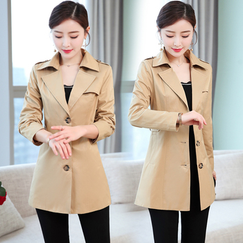 b Spring autumn Women Trench Coat Long Windbreaker Fashion Single Breasted Turn Down Collar Slim Long Trench Coat Female Outwear wotwoy autumn safari style casual women trench coat raglan sleeve double breasted belt pockets trench turn down collar top women