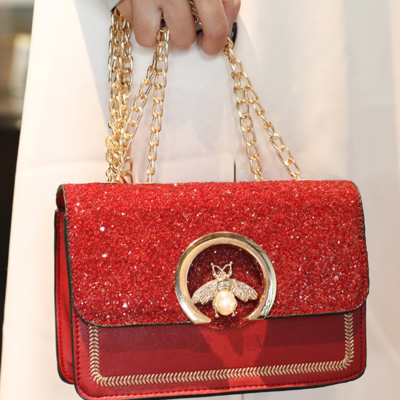 Women Chain Strap Snakeskin Clutch Flap Handbag Crossbody Messenger Shoulder Bag