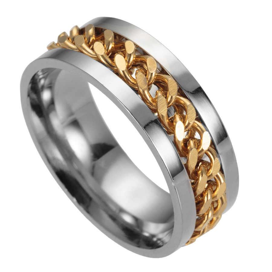 Titanio acero hombres anillos negros cadena masculina oro colorido anillo gótico pareja plata anillo para mujer joyería al por mayor