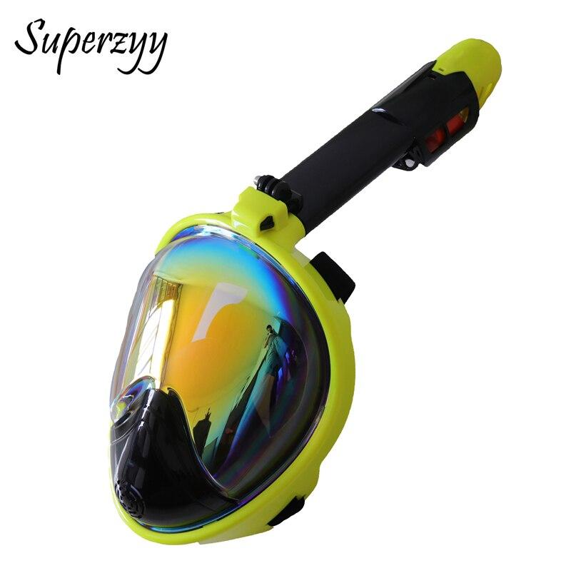 2018 nuevo en máscara de buceo bajo el agua Anti niebla cara completa Snorkel máscara de los hombres y las mujeres de natación Snorkel buceo