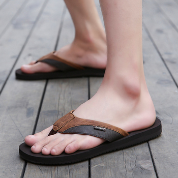PU Leather Slippers Men Beach Flip Flops Breathable Fashion Flip-Flops For Men Summer Shoes Causal Sandals Indoor Male Slippers 5