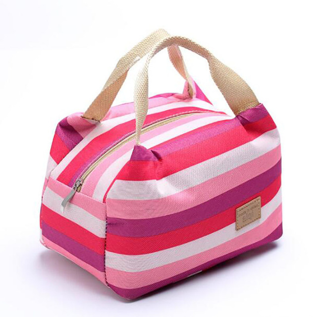 Insulated Lunch Bag Thermal Stripe Tote Picnic Food Lunch Box Bag Food Storage Bag Picnic Container Tote Bag Cases