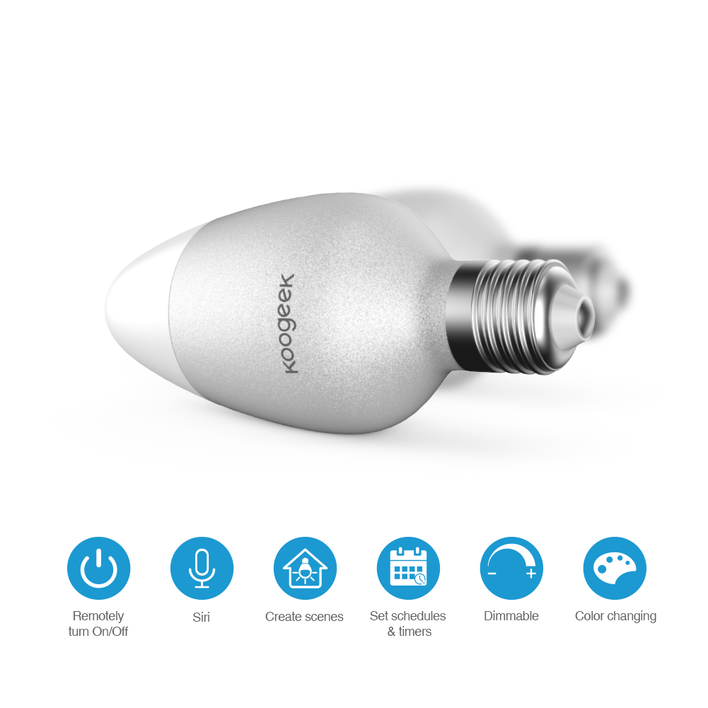 Image 2 - Koogeek E26 E27 8W Dimmable Wifi Light Smart Home LED Bulb 16  Million Colors for Apple HomeKit Siri Remote Control Only for IOSbulb  ledbulb smartbulb wifi