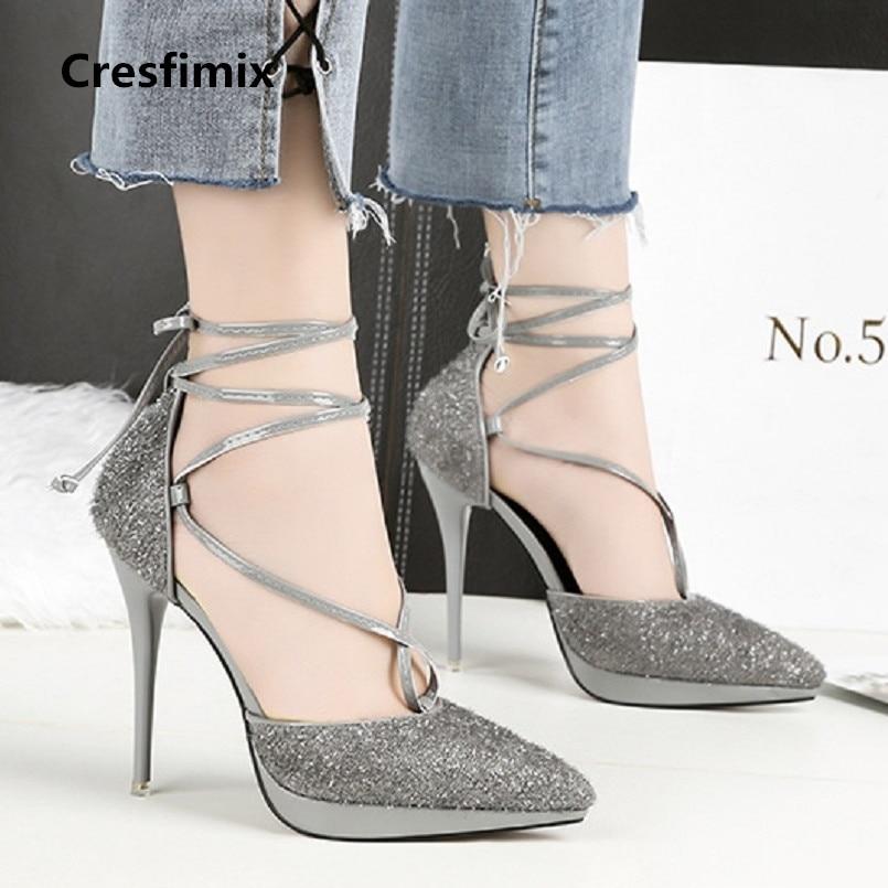 Señora B Zapatos Linda Negro De String c d Cómodo C2640 Cresfimix Mujer Cuero Shinning Tacón Alto Tie Tacones Altos Pu Partido a Femeninos vzxXqnwEH