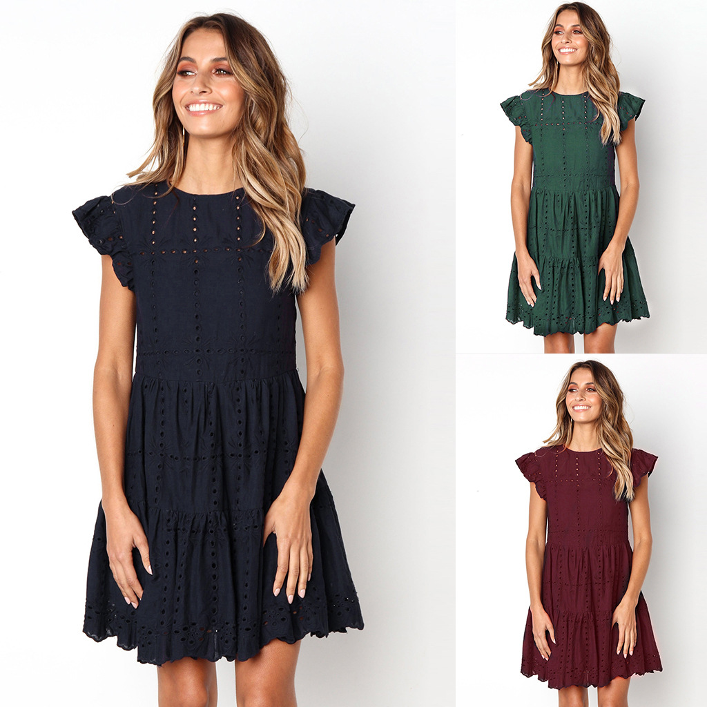 Summer Dress Women 2019 Embroidery Flowers Cotton Solid Short-sleeved Color O-neck Linen Casual Hollow Sexy Fashion Vestidos