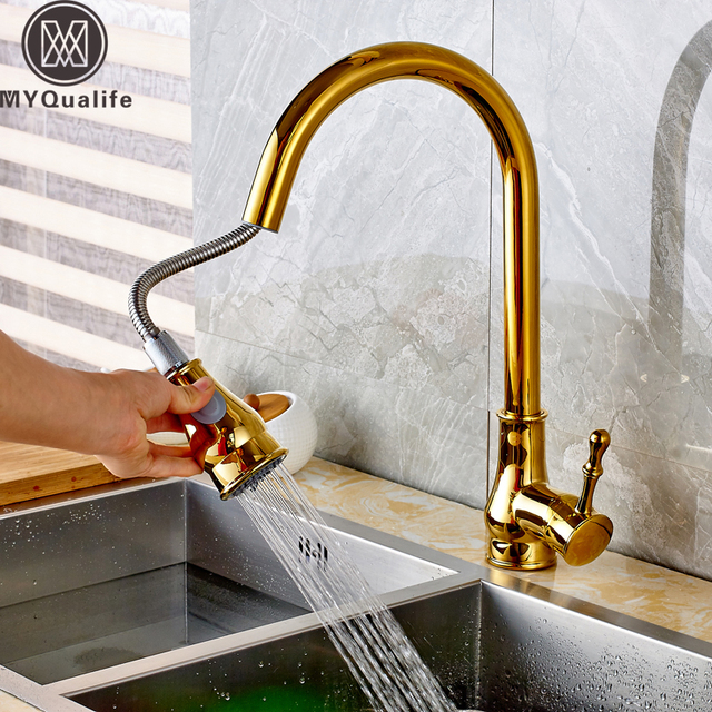 High Arch Kitchen Faucet Golden Kitchen Sink Faucet Pull Out Rotation Stream Spray Mixer Tap Hot Cold Crane Deck Mounted