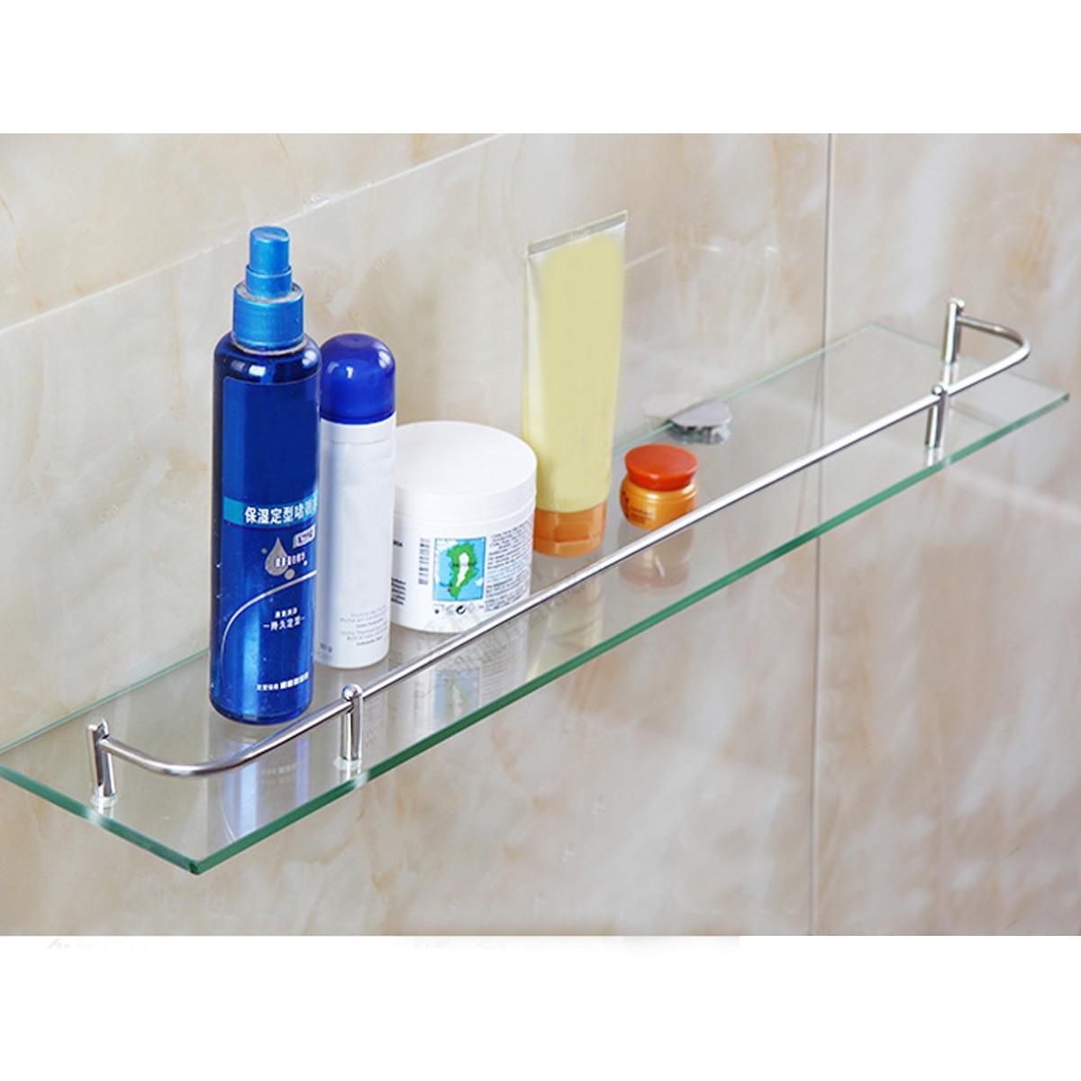 Glass Bathroom Shower Holder For Shampoos Bath Gel Kitchen Home Balcony Shelf Hanging Storage Rack Wall Mount Hardware 50*12cm