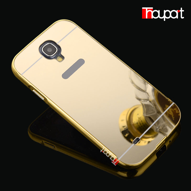 for samsung S4 New plating Aluminum Frame + Mirror Acrylic Back Cover Case for Samsung Galaxy S4 i9500 Phone protective