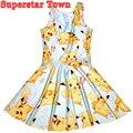 Покемон Пикачу Платья Для Партии Harajuku Повседневная Лето Dress 3D Цифровая Печать Рукавов Плотно Пляж Платья Платье