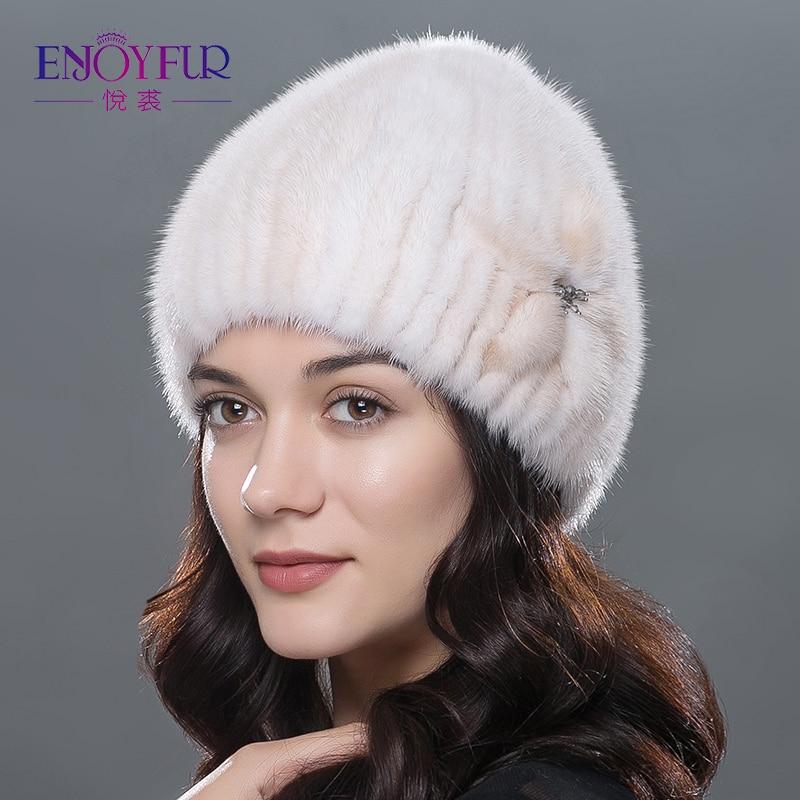 ENJOYFUR sombrero de piel de invierno de las mujeres real mink sombrero de piel gruesa caliente moda de punto gorros cap buena calidad piel headwear