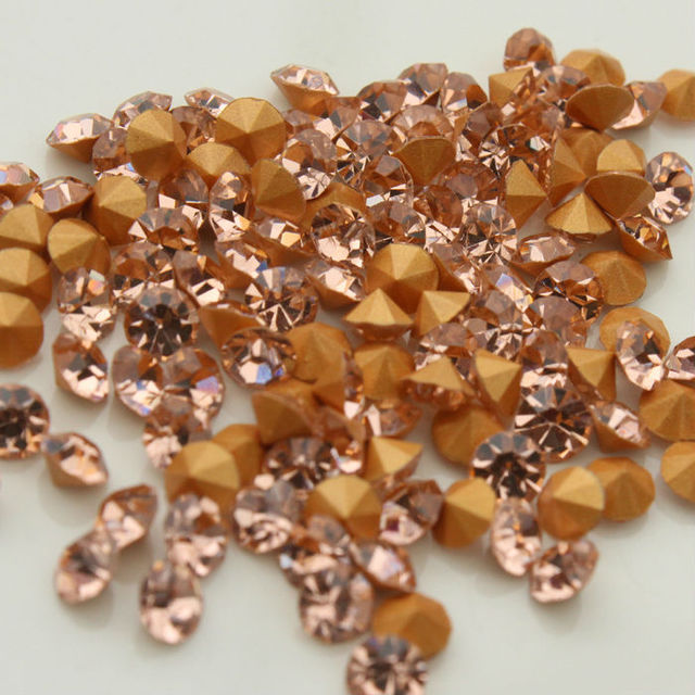 1440pcs bag peach color pointed back Glass Chatons Crystal Beads Many size  Round Fancy Crystal Pointback For Jewelry Accessory-in Rhinestones from  Home ... ea228794c1c3