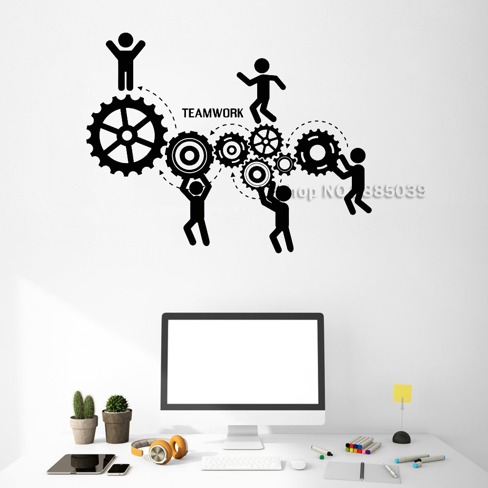 New Vinyl Wall Decals Teamwork Office Motivation Gears Wall Stickers Adesivo De Parede Removable Wallpapers Unique Gift LC530