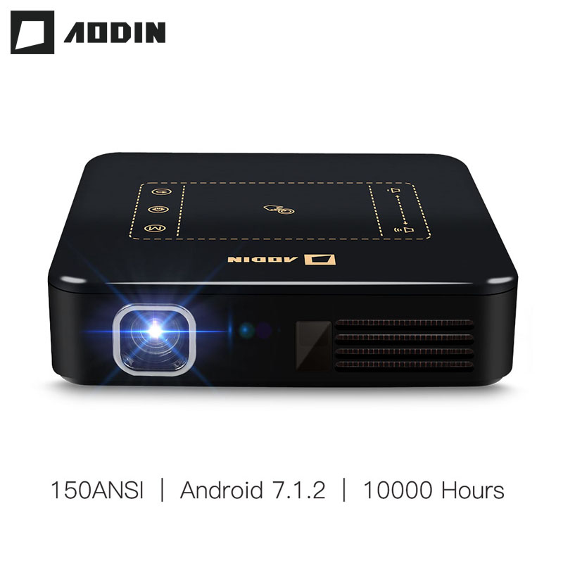 AODIN Android 7.1 Mini Pocket Projector D13 4K Smart TouchPad Pico DLP Portable LED WIFI Bluetooth 8000mAh Battery Home Theater