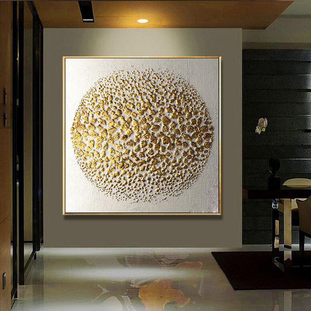 1 Panel Hd Abstract Golden Embossed Pattern Round Wall Art Picture