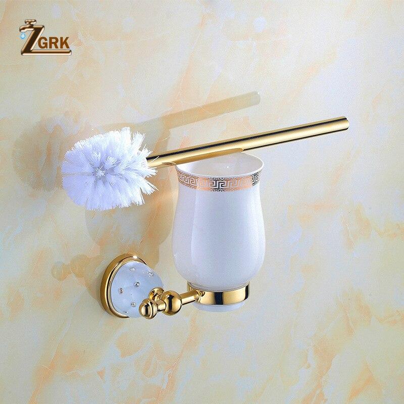 ZGRK Bathroom Toilet European Style Holder Stainless Steel Modern Brush Holder Ribbon Holder WC Accessories Useful Products