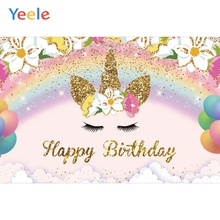 Yeele Baby Birthday Party Golden Unicorn Portrait Photography Background Customized Photographic Backdrop For Photo Studio