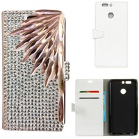 Bamboo Leaf Handmade Bling Rhinestone PU Leather Magnetic Flip Stand Wallet Phone Case Cover For Huawei