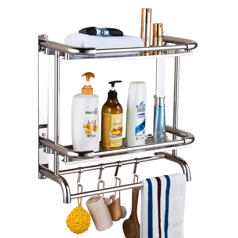 Bathroom hardware pendant 304 stainless steel rack wall-mounted single-layer double-layer three-tier rack black bathroom shelf hotel 304 stainless steel double layer triangular basket single layer bathroom storage rack