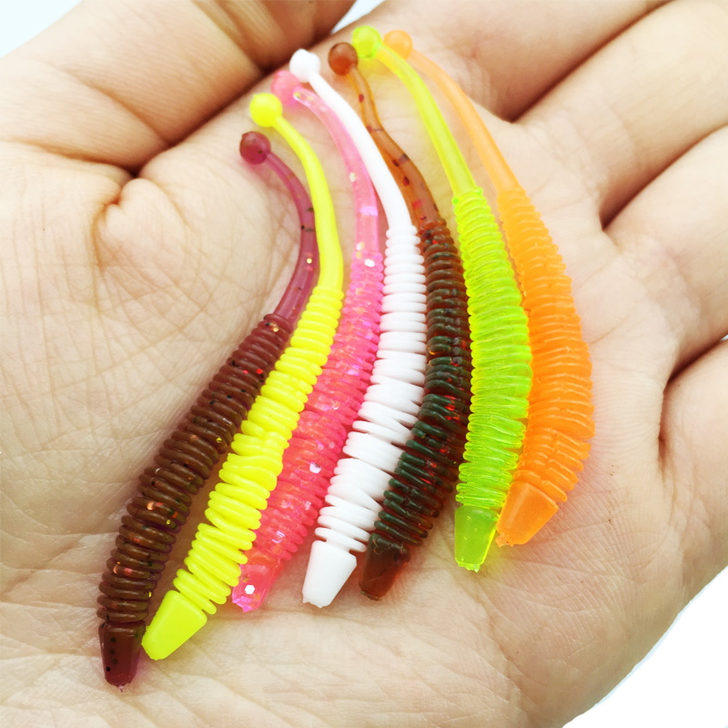 Amlucas 10pcs/lot 6cm 0.6g Pesca Artificial Soft Lure Japan Shad Worm Swimbaits Fly Fishing Silicone Bait Fish WE143