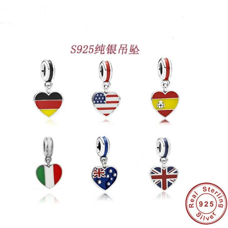 2019 Herz Flagge Charms Original 100% Authentische 925 Sterling Silber Gewinde Perlen Fit Original Charms Armbänder & Halsketten