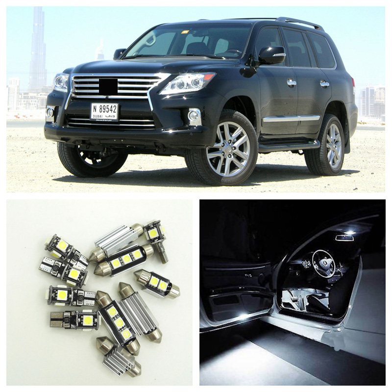 15pcs Canbus White Car LED Light Bulbs Interior Package Kit For 2008-2013 Lexus LX570 Map Dome Door Trunk Lights