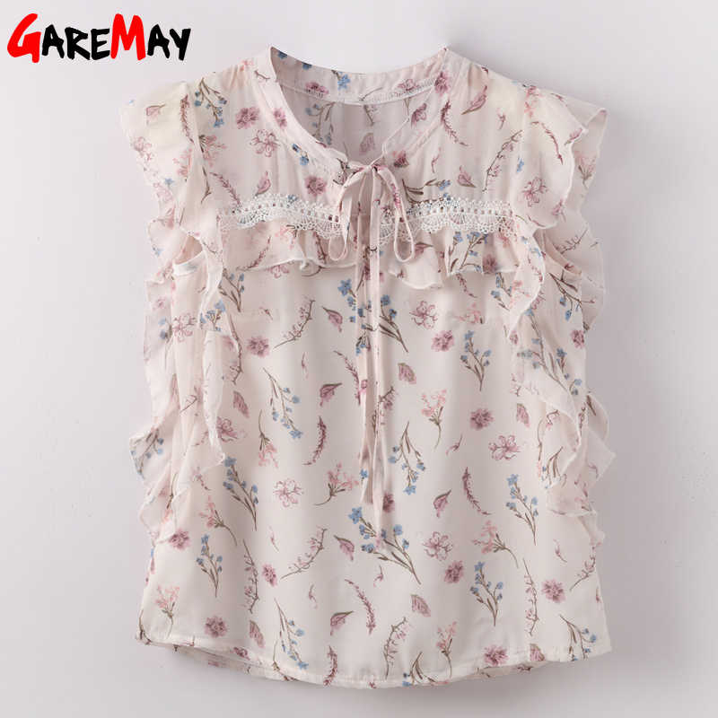 Blusas de mujer con volantes 2019 sin mangas suelta Blusa de gasa con estampado Floral blusa de mujer blusa femenina con lazo