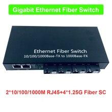 Endüstriyel Sınıf Gigabit Ethernet Anahtarı 4 Port 1.25G fiber ve 2 RJ45 çift yönlü pasif fiber optik ortam dönüştürücü Kartı PCB