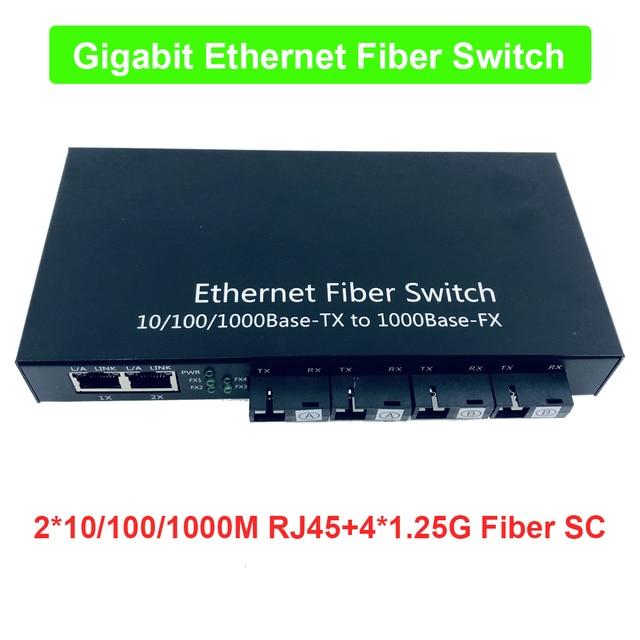 Grado industriale Gigabit Ethernet Switch 4 Port 1.25g fibra & 2 RJ45 bi direzionale passivo supporti in fibra ottica scheda del convertitore PCB