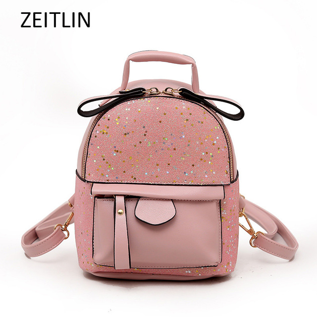 PU Leather Female Mini Casual Backbag Trendy Sequins Cute Rucksack Korean  Style Women Small Shoulder Bags 4864777acb7a4