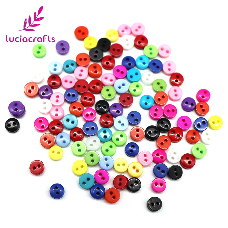 500PCS Random Mixed 2-Holes 6mm Round Resin Mini Flatback Buttons Scrapbooking DIY Button Apparel Sewing Decorative 004010132 button